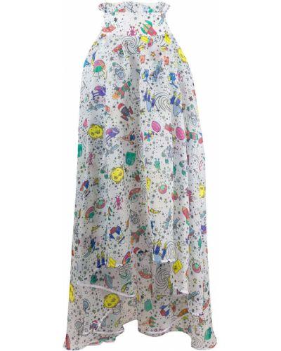 Biała spódnica maxi rozkloszowana z wysokim stanem Ultrachic