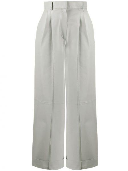 Серые кожаные укороченные брюки с карманами Fendi