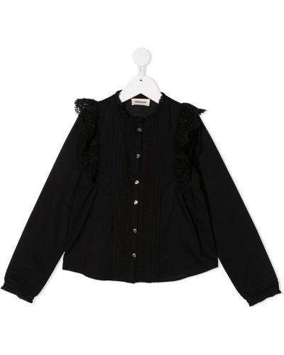 Черная рубашка с вышивкой на пуговицах с вырезом Zadig & Voltaire Kids