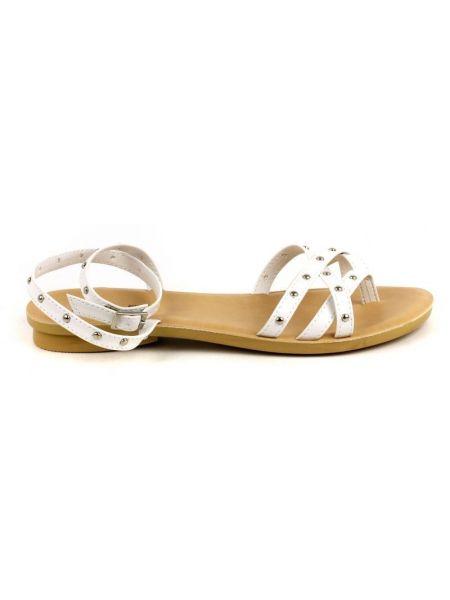 Кожаные сандалии - белые Plato