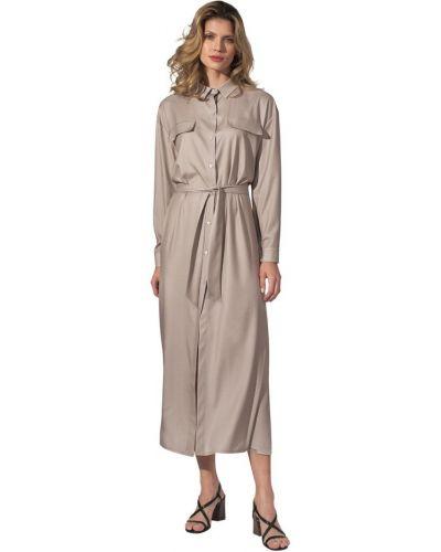 Beżowa sukienka długa z wiązaniami Figl