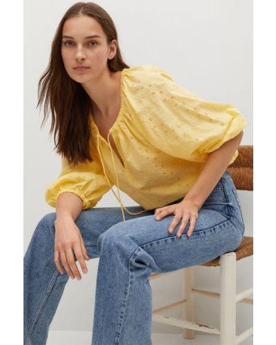 Żółta bluzka bawełniana z haftem Mango