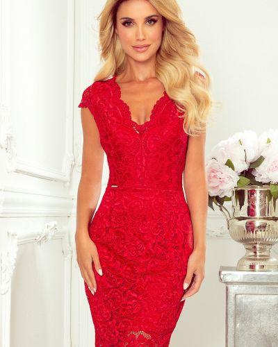 Czerwona sukienka elegancka koronkowa Numoco