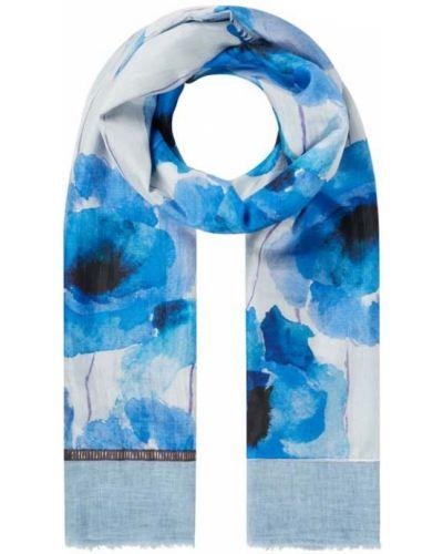 Niebieska szal z jedwabiu w paski Fraas