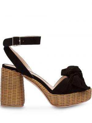Czarne sandały na platformie skorzane Miu Miu