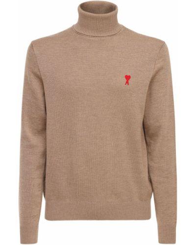 Beżowy wełniany sweter z haftem Ami Alexandre Mattiussi