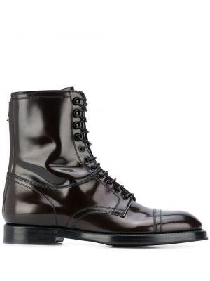 Koronkowa buty na wysokości zasznurować okrągły nos z prawdziwej skóry Dolce And Gabbana