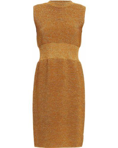 Вязаное платье мини золотое из вискозы Moschino