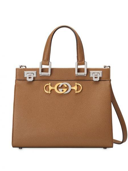 Коричневая кожаная сумка металлическая Gucci