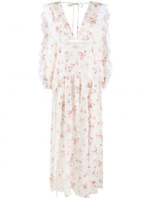 Biała sukienka długa z długimi rękawami w kwiaty Wandering