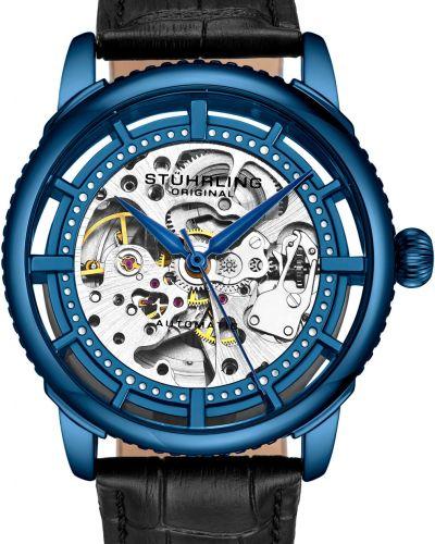 Часы механические водонепроницаемые с кожаным ремешком Stuhrling