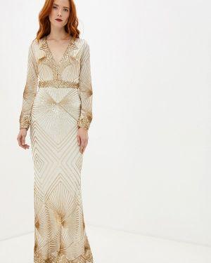Вечернее платье осеннее бежевое Goddiva