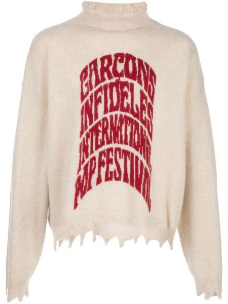 Biały z kaszmiru sweter z długimi rękawami Garçons Infideles