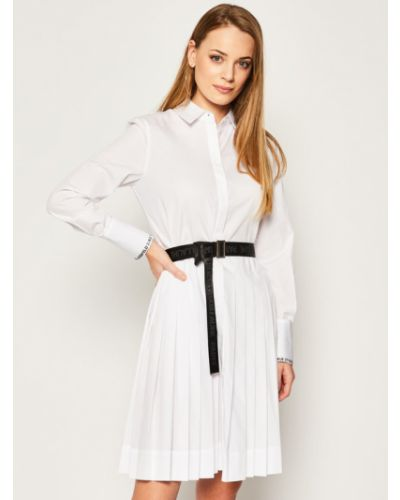 Biała sukienka koszulowa z paskiem Karl Lagerfeld