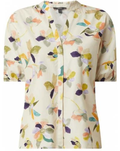 Biała bluzka z falbanami krótki rękaw Esprit Collection