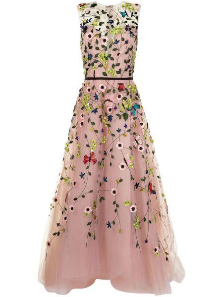 Вечернее платье с вышивкой - розовое Monique Lhuillier