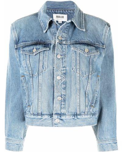 Хлопковая синяя джинсовая куртка с воротником Agolde