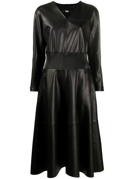 С рукавами кожаное черное платье макси Karl Lagerfeld