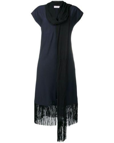 Платье миди с короткими рукавами - синее Sonia Rykiel