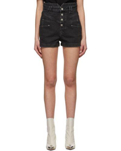 Czarne jeansy z paskiem srebrne Isabel Marant