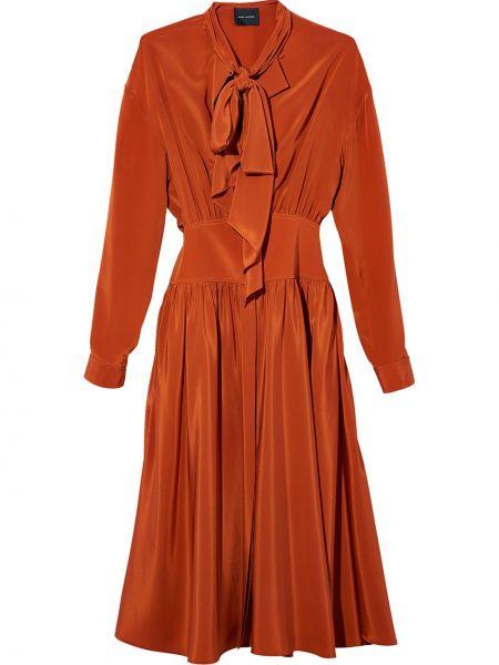 Шелковое платье миди - оранжевое Marc Jacobs