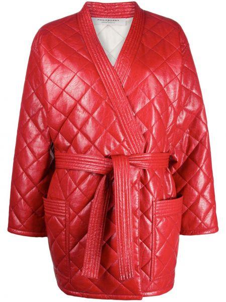 Красное стеганое длинное пальто с завязками Philosophy Di Lorenzo Serafini