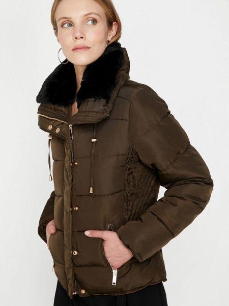Коричневая теплая утепленная куртка Koton