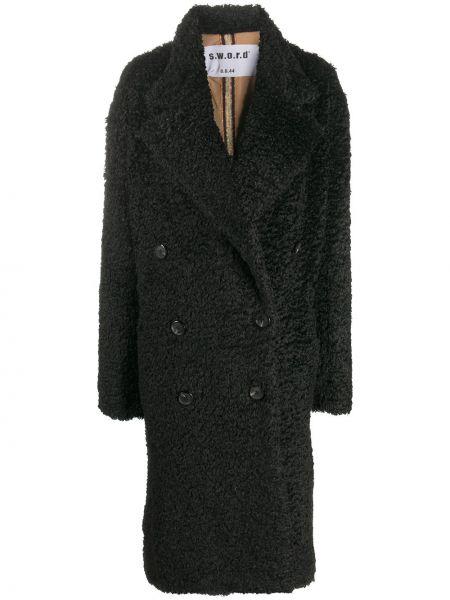 Черное пальто классическое двубортное из овчины S.w.o.r.d 6.6.44