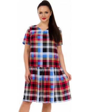 Платье мини из штапеля с V-образным вырезом Liza Fashion