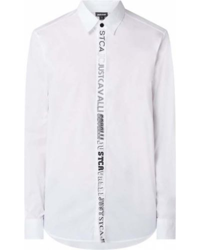 Biała koszula bawełniana z długimi rękawami Just Cavalli