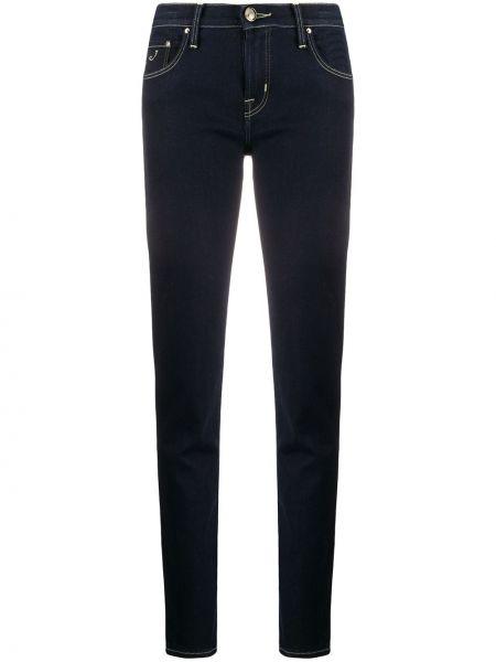 Синие хлопковые джинсы-скинни на молнии Jacob Cohen