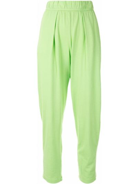 Зеленые плиссированные зауженные укороченные брюки с поясом Raquel Allegra