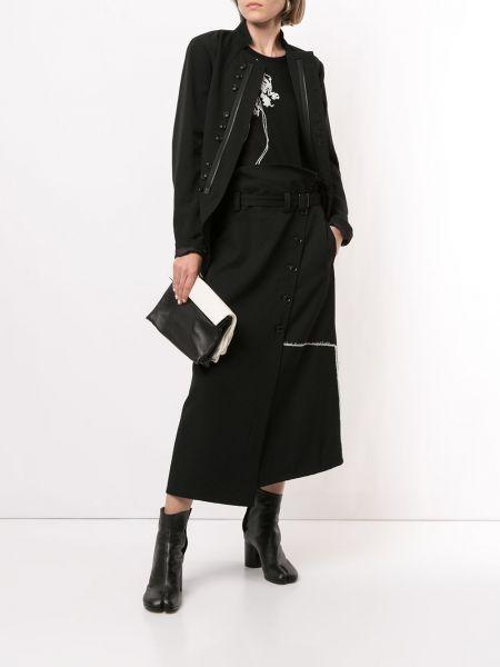 Шерстяное черное длинное пальто с воротником Y's