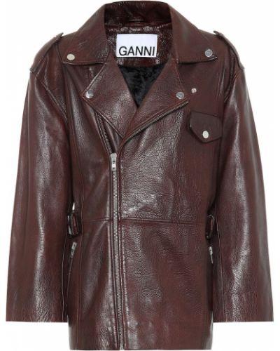 Кожаная куртка байкерская классическая Ganni