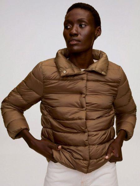 Теплая коричневая утепленная куртка Mango