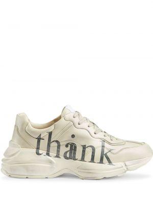 Skórzany biały sneakersy z łatami na sznurowadłach Gucci