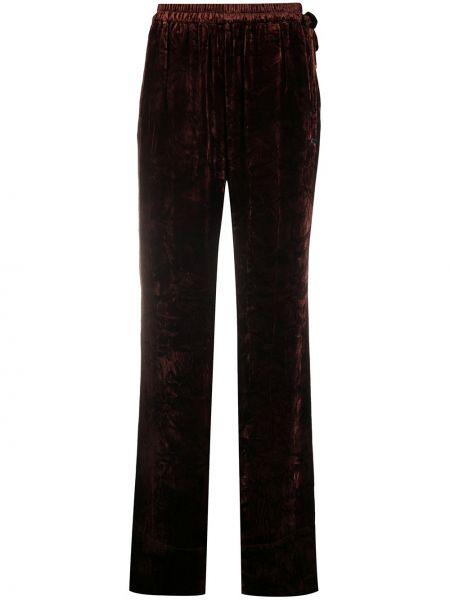 Коричневые расклешенные брюки с поясом с высокой посадкой Acne Studios
