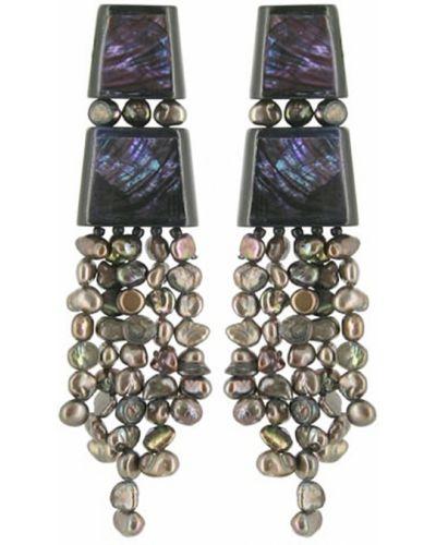 Фиолетовые серьги с жемчугом Nature Bijoux