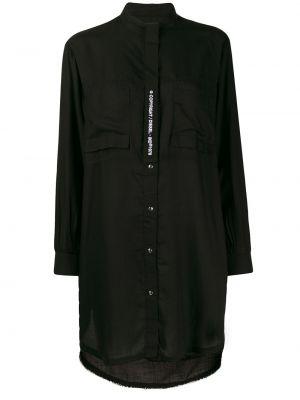 Прямое с рукавами черное платье макси Diesel