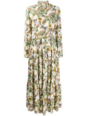 Классическое плиссированное платье на пуговицах с воротником La Doublej