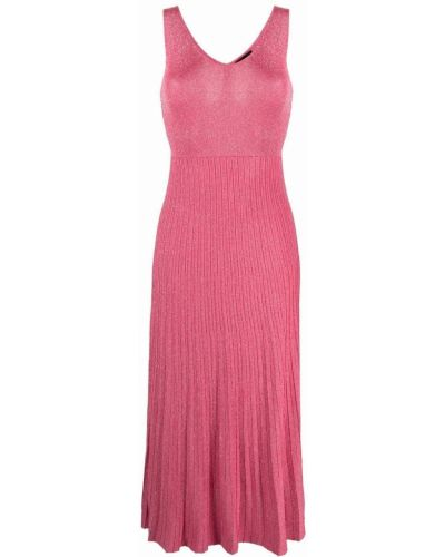 Розовое вязаное платье миди без рукавов Roberto Collina