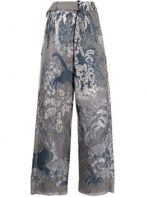 С завышенной талией серые брюки свободного кроя Giorgio Armani