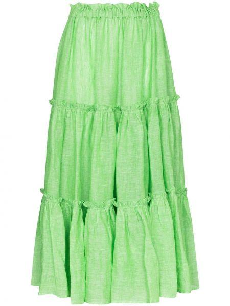 Зеленая юбка миди с оборками Lisa Marie Fernandez