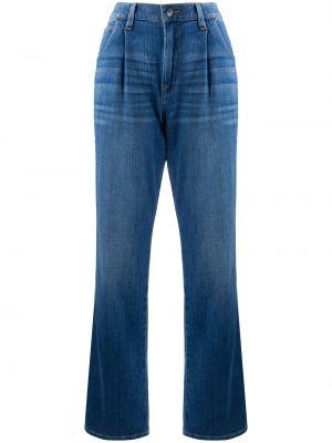 Классические хлопковые синие джинсы бойфренды со складками Frame