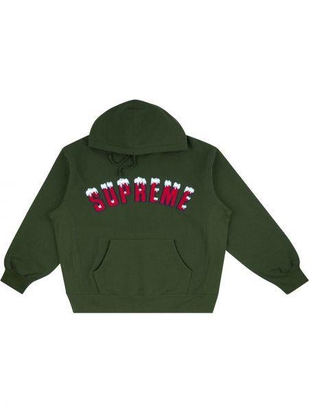 Zielona bluza długa z kapturem z haftem Supreme