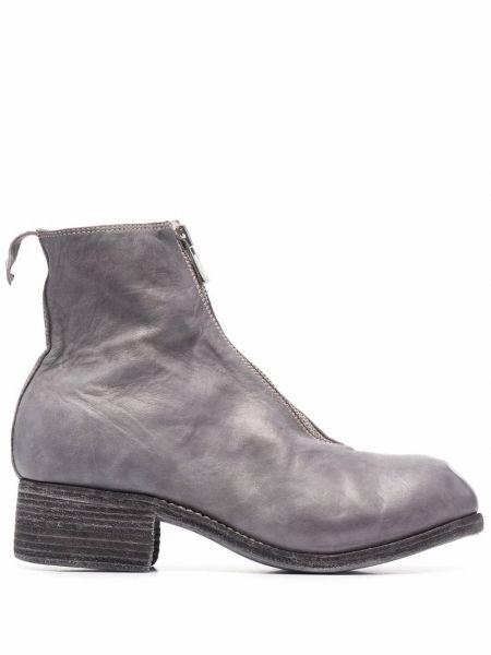 Ankle boots skorzane na obcasie Guidi