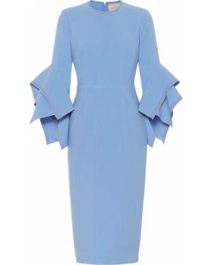 Вечернее платье миди синее Roksanda
