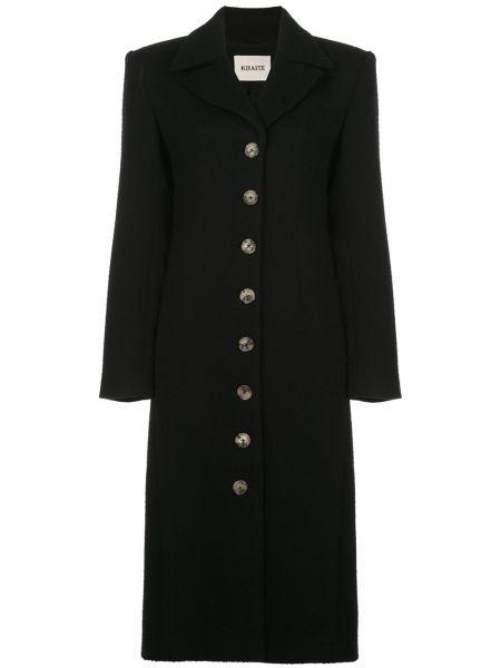 Шерстяное черное пальто с капюшоном Khaite