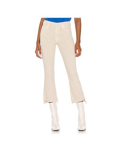 Бежевые укороченные джинсы с карманами на молнии Mother