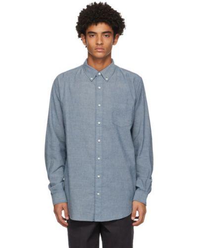 Синяя рубашка с воротником с заплатками с карманами Schnaydermans